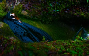 Picture autumn, forest, leaves, girl, stones, hair, moss, sleep, dress, fairy, red, nymph, Wallpaper from lolita777