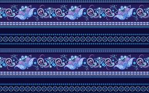 Wallpaper ornament, pattern, blue, strip