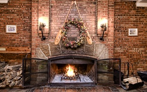 Picture design, wall, fire, brick, fireplace, Fire, lamps, Interior, Bonfire