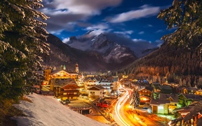 Picture winter, snow, night, lights, home, Italy, resort, January, municipality of Canazei