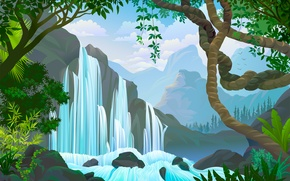 Picture water, trees, waterfall