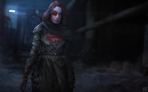 Picture girl, red, cyborg, cyberpunk, hunter, the bounty hunter