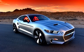 Picture road, sunset, desert, Mustang, Ford, the concept, Auto, Sports, Rocket, Galpin, 2016