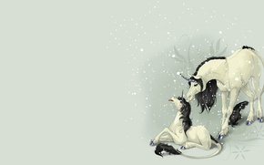 Picture fantasy, baby, art, unicorn, children's, the first snow