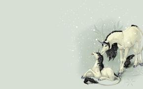Picture fantasy, baby, art, unicorn, children's, the first snow