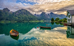 Wallpaper mountains, lake, boats, Norway, Norway, Oppstrynsvatn Lake, Hjelledalen