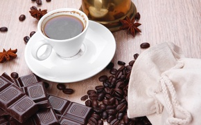 Picture chocolate, morning, coffee beans, morning, chocolate, a Cup of coffee, a Cup of coffee, coffee …