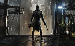 Picture weapons, back, lamp, shadow, cables, cyborg, cloak, Square Enix, muffler, Adam Jensen, Adam Jensen, cyborg, …