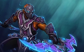 Picture weapons, armor, mask, art, guy, stand, Dota 2, Anti-Mage