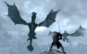 Picture rock, dragons, sword, warrior, helmet, Skyrim, The Elder Scrolls V