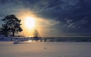 Picture winter, landscape, sunset, lake