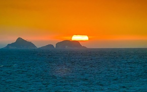 Wallpaper sea, orange sky, Brazil, Ipanema, island, Rio de Janeiro, sunset