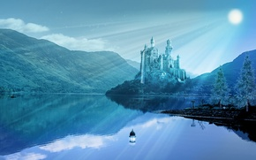 Picture water, rays, landscape, mountains, reflection, river, castle, lantern