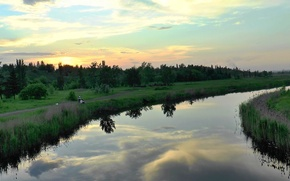 Picture clouds, reflection, the evening, River, dawn