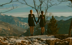 Picture landscape, mountains, girls, view, height, pair, braids, Touch, not gonna get us