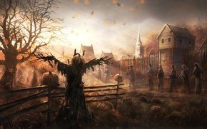 Wallpaper art, Church, pumpkin, home, the wind, trees, fences, the garden, people, leaves, Scarecrow, prisoners, autumn