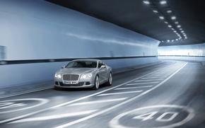 Wallpaper grey, the tunnel, speed, movement, road, continental, Bentley, Dzhi-ti, continental, bentley, machine, auto, restriction