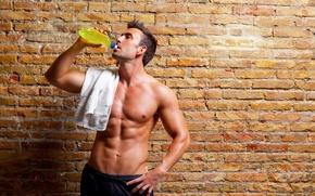 Picture towel, male, torso, man, handsome, sports, press, body
