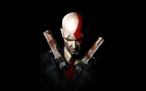 Picture Hitman, gun, pistol, game, weapon, Kratos, spy, God of War, man, assassin, spartan, scar, bald