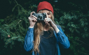 Picture girl, camera, the camera, photographer, Contax