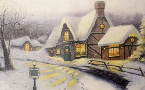 Picture winter, snow, picture, painting, cottage, Thomas Kinkade, Olde Porterfield Gift Shoppe
