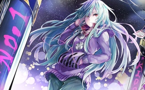 Picture cold, girl, snow, night, music, headphones, art, kagerou project, teasewetspectacle, kido tsubomi