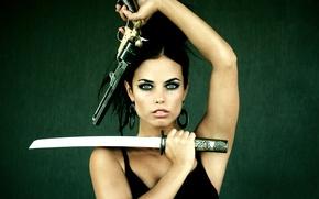 Picture girl, protection, revolver, tanto, Hot girl, gun sword