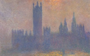 Wallpaper Claude Monet, picture, the urban landscape, The Houses Of Parliament. The effect of sunlight in ...