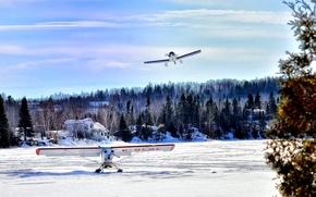 Picture Canada, river, sky, planes, nature, blue, cloud, winter, lake, snow, village