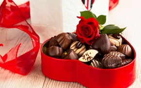 Picture chocolate, roses, candy, love, rose, heart, romantic, Valentine's Day