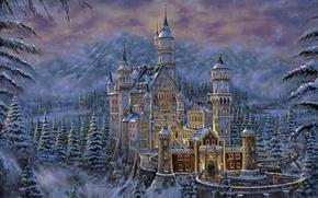 Picture mountains, castle, figure, tree, Robert Finale