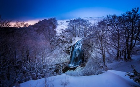 Picture snow, mountains, France, waterfall, nature, trees, Auvergne, winter, blue, color, river, landscape