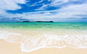 Picture the sun, beach, blue, sunshine, beach, sea, sand, sand, sea, emerald, ocean