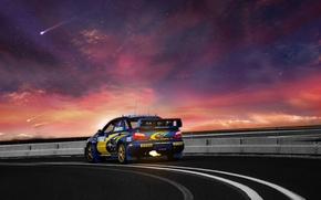 Picture WRX, flame, road, rally, landscape, sunset, night, clouds, stars, Subaru Impreza