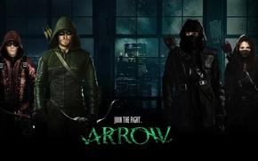 Picture city, woman, men, window, Arsenal, assassin, hero, killer, buildings, bow, mask, Green Arrow, Arrow, DC …