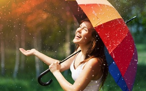 Picture fun, umbrella, widescreen, HD wallpapers, Wallpaper, rain, umbrella, the rain, brunette, girl, full screen, positive, ...