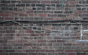 Picture wall, brick, texture, cable