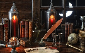 Picture pen, books, a month, window, glasses, lights, still life, globe, vintage, Cup