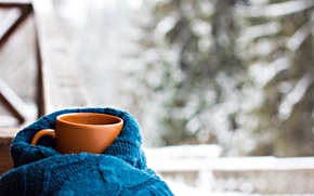 Wallpaper scarf, Cup, hot, winter, snow, cup, coffee