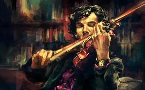 Wallpaper violin, art, Benedict Cumberbatch, sherlock, alicexz