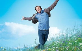 Picture 2008, Jim Carrey, Nature, Clouds, Sky, Grass, Blue, Flowers, Wallpaper, Yes Man, Boy, Bradley Cooper, …