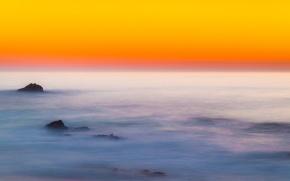 Picture sea, the sky, sunset, stones, horizon, glow
