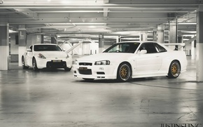 Picture white, nissan, Parking, white, skyline, Nissan, gt-r, 370, gtr, 370z, r34, bbs, Skye, skyline, white …