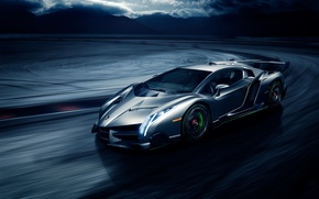 Picture movement, speed, Lamborghini, front, Veneno