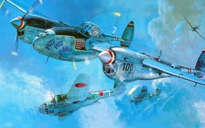 Picture figure, art, Lightning, Lockheed, UNITED STATES AIR FORCE, P-38, American heavy fighter, reconnaissance aircraft