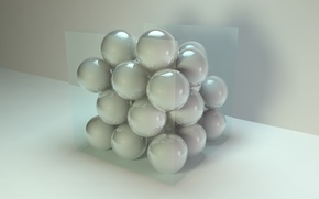 Picture glass, cube, square, sphere, Rendering