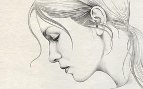 Picture girl, paper, figure, portrait, profile, pencil, painting, art, Diego Fernandez
