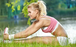 Wallpaper stretching, workout, blonde, fitness