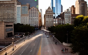 Picture the sun, machine, movement, people, street, building, skyscrapers, Chicago, America, Chicago, USA, skyscrapers
