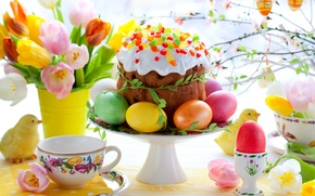 Picture cake, eggs, spring, flowers, flowers, cake, tulips, tulips, Easter, eggs, painted, Easter, colorful, easter, spring